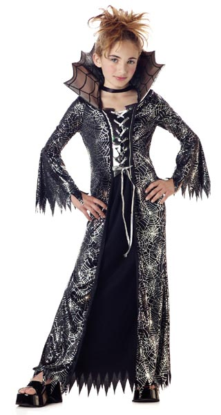 Child's Silver & Black Spider Witch Costume
