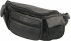 Large DLX Black Leather Fanny Pack