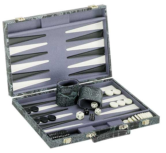 Green Map Backgammon Game Set in Case
