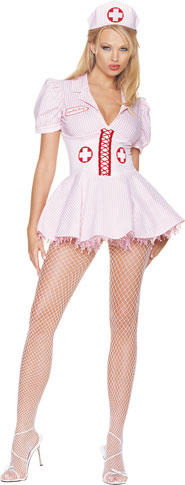 Sexy Candy Stripe Nurse Costume
