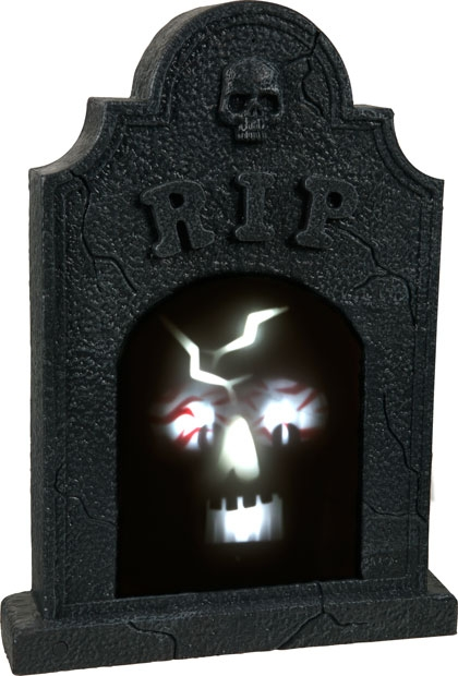 Sound Activated Illuminated Skull Tombstone