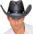 Adult Brown Faux Leather Cowboy Hat