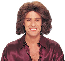 Men's Brown 70s Feathered Costume Wig