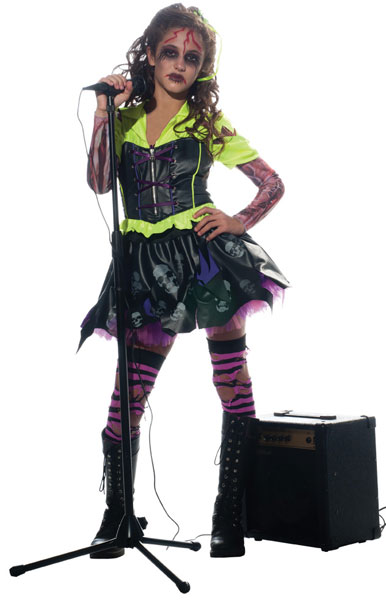 Girls Zombie Rocker Costume