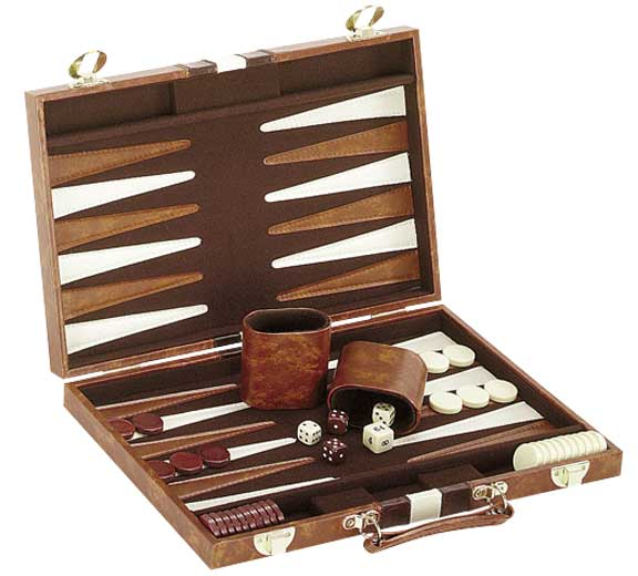 Brown and White Backgammon Set in Case
