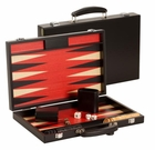 15 inch Black and Red Wood Backgammon