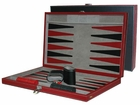 18 inch Black and Red Leatherette Backgammon