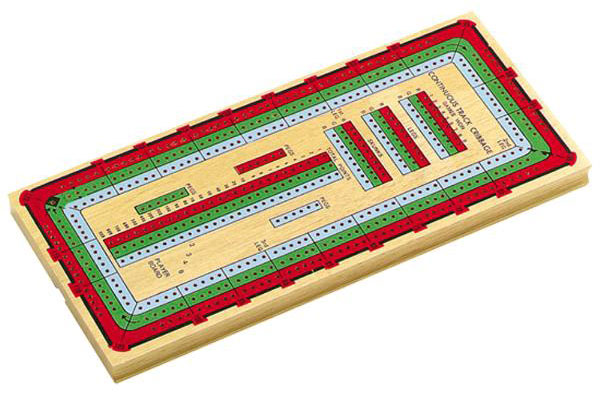 14� inch 3 Track Multi Colored Cribbage Board