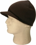 Dark Brown Cuffless Visor Beanie