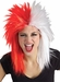 Sports Fan Red and White Wig