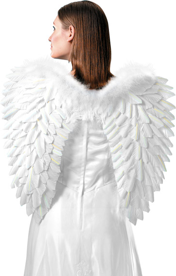 Adult Medium White Feather Angel Wings