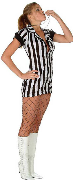 Sexy Double Zip Referee Girl Costume