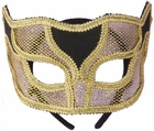 Gold Netted Mardi Gras Half Mask