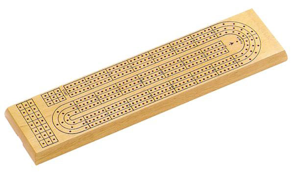"15"" Three-Track Wooden Cribbage Board"