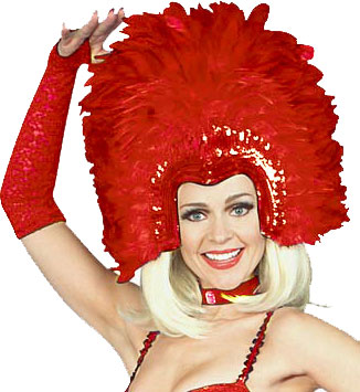 Adult Red Feathered Show Girl Headpiece