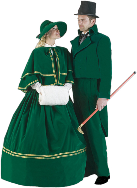 Adult Green Christmas Caroler Costume