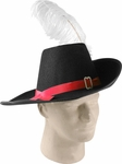 Cavalier Hat w/ Red Band and Feather