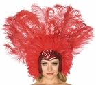 Deluxe Red Feather Carnival Headress