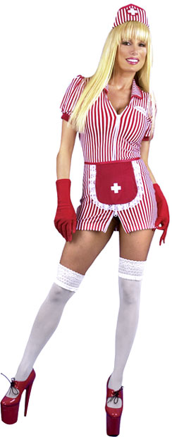 Sexy Double Zip Candy Stripe Nurse Costume