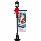 6' Black Lamp Post with Santa Banner