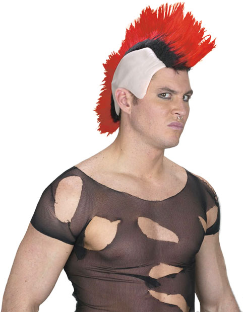 Red & Black Mohawk Wig