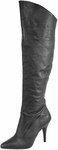 Black 4 Inch Pull-On Knee Cuff Boots