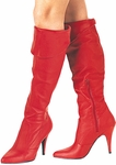 Red 4 Inch Pull-On Knee Cuff Boots
