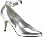 Silver Pumps in Large Sizes