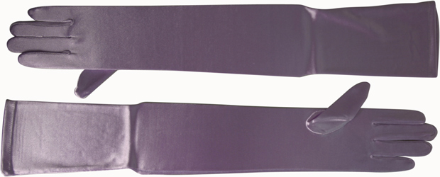 Opera Length Lavender Satin Gloves