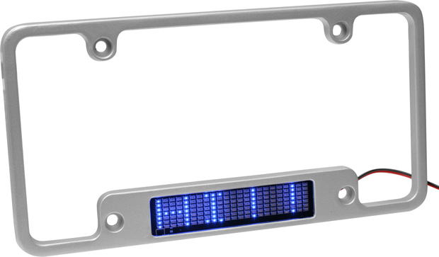 Aluminum Blue LED Moving Message License Plate Frame
