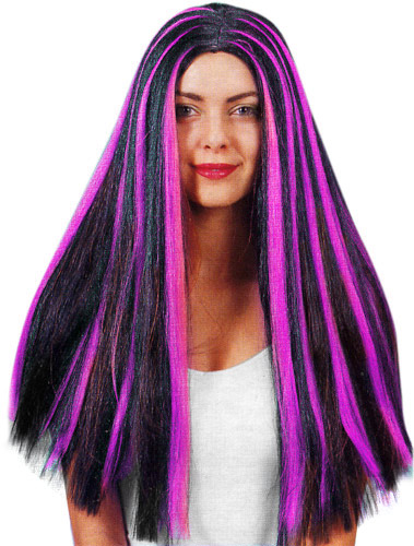 Adult Black & Purple Witch Wig