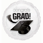 White 18 Inch Graduation Foil Balloon