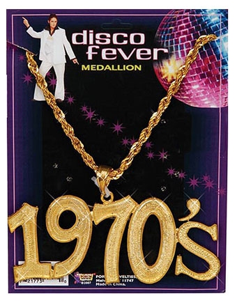 1970s Gold Medallion Disco Necklace