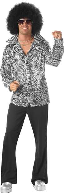 Adult Disco Shirt And Wig Costume