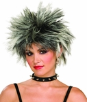 Woman's Black And White Spiked 80s Wig