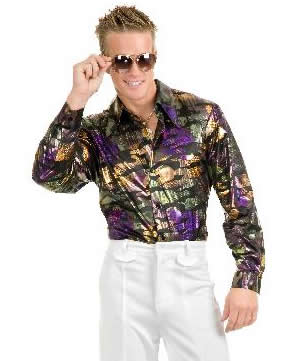 Men's Gold And Purple Camo Disco Shirt