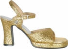 Women's 70s Gold Glitter Disco Shoes