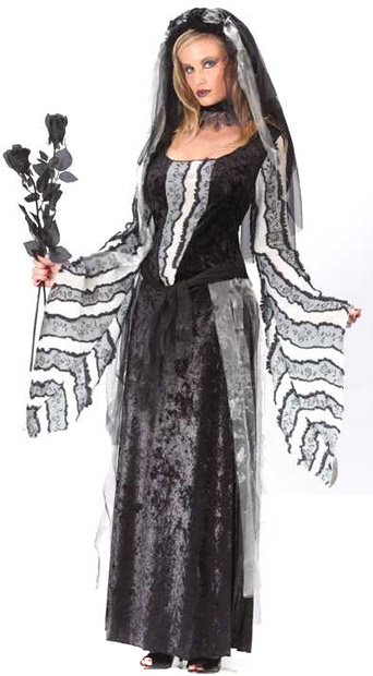 Adult Black Rose Ghost Dress Costume