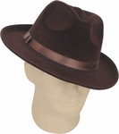 Brown Fedora Gangster Hat