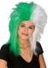 Sports Fan Green and White Wig