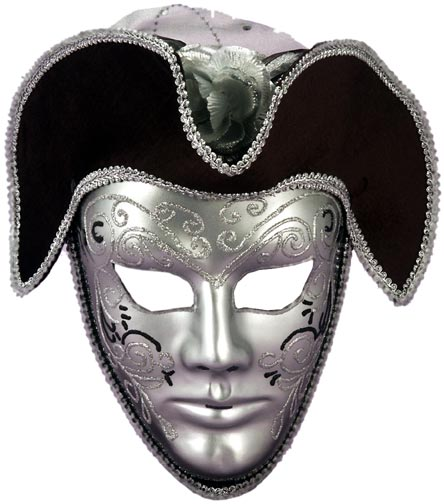 Silver Venetian Mask With Headpiece
