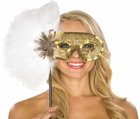Gold Sequin Hand Held Eye Mask