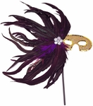 Purple & Black Feather Gold Sequin Stick Mask