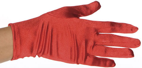 Red Polyester Costume Gloves