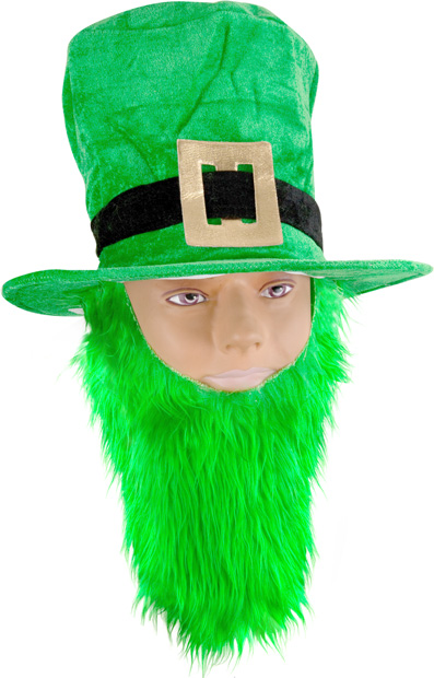 Green Velvet Top Hat With Beard