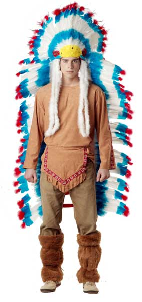 Adult Colorful Indian Headdress Feather Set