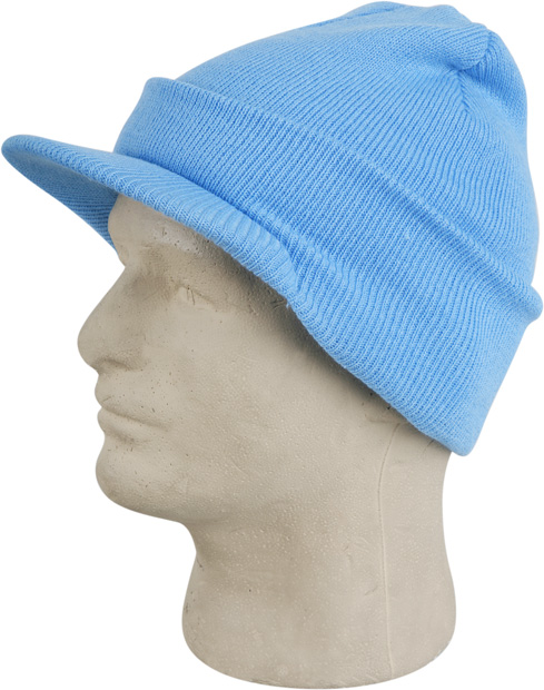 Light Blue Cuffed Visor Beanie Hat