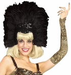 Adult Black Feathered Show Girl Headpiece