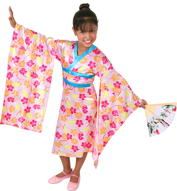 Child's Pink Butterfly Princess Geisha Costume