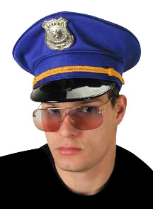 Adult Blue Police Costume Hat W/ Badge